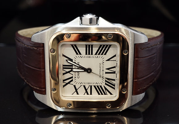 CARTIER 2012 Santos 100, Steel & Rose Gold,2878, W20107X7, MINT, Box & Papers