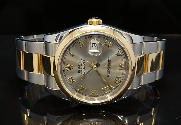 ROLEX 2007 Datejust 36, Steel & Gold, 116203, Rhodium Dial, Box & Papers