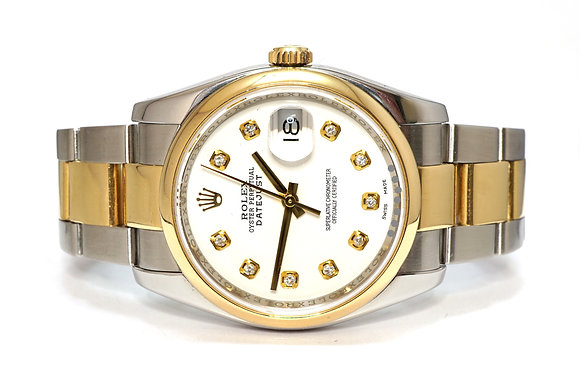 ROLEX 2008 Datejust 36, 116203, Steel & Gold, Diamond Dot Dial, Box & Papers