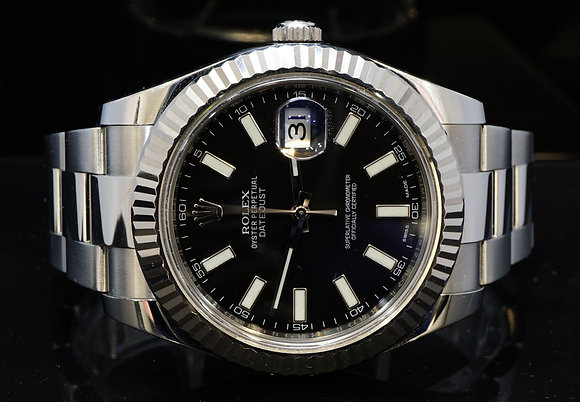 ROLEX 2015 41mm Datejust II, White Gold Bezel, 116334, Box & Papers