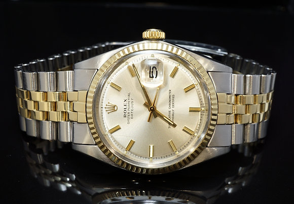 ROLEX 1973 Datejust 36, Steel & Gold, 1601, Pie Pan Dial, Boxed