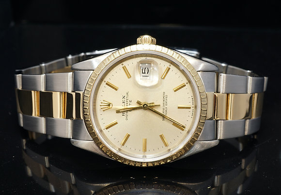 ROLEX 1991 Date 34, Steel & Gold, 15223, Box & Papers
