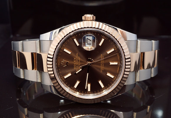 ROLEX 2017 Datejust 41, Steel & Rose Gold, 126331, Chocolate Dial, Box & Papers