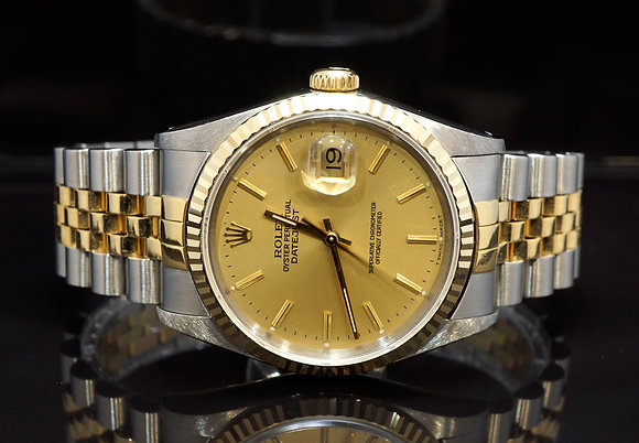 ROLEX 1991 Datejust 36, 16233, Steel & Gold, Jubilee, Box & Papers