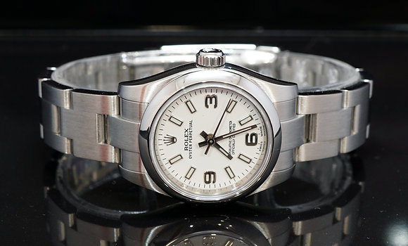 ROLEX 2017 Oyster Perpetual 26, 176200, White Dial, Box & Papers