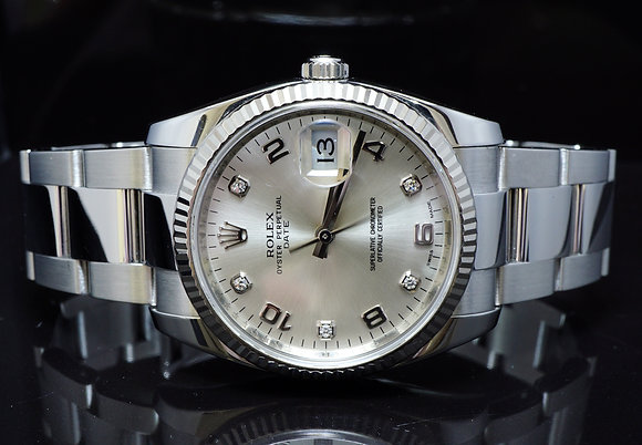 ROLEX 2012 34mm Date, Diamond Dot Dial, 115234, Box & Papers