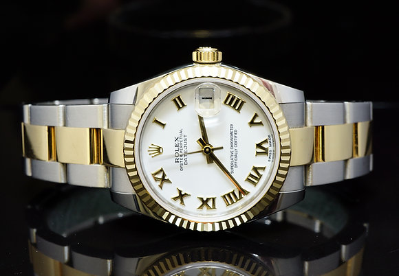 ROLEX 2014 31m Datejust, Steel & Yellow Gold, 1782RESERVED73, MINT, Box & Papers