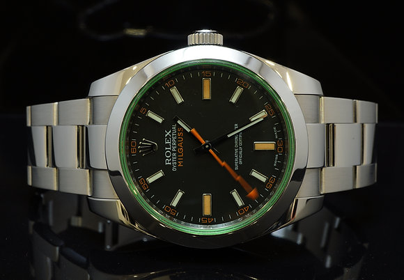 ROLEX 2010 Milgauss, Green Glass, 116400GV, MINT, Box & Papers