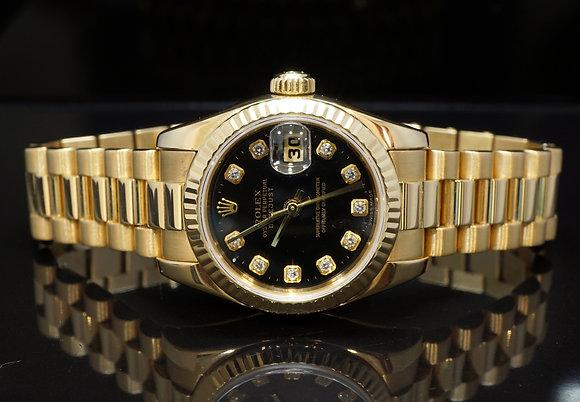 ROLEX 2004 26mm Datejust, 18ct Yellow Gold, Diamond Dial, 179178, MINT, B&P