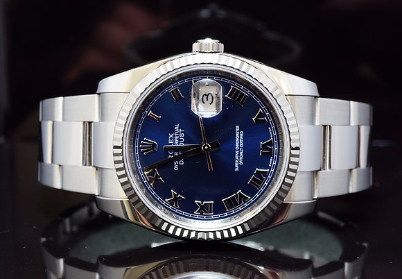 ROLEX 2008 36mm Datejust, Blue Roman, MINT, Box & Papers