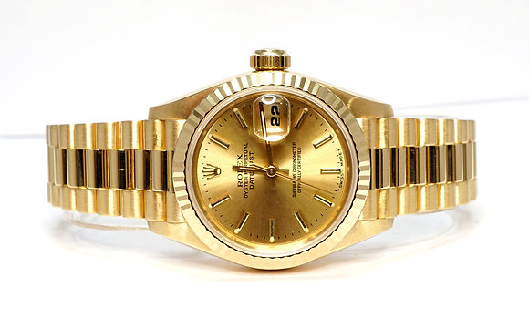 ROLEX 1995 Datejust 26, 69178, 18ct Yellow Gold, President Bracelet, Box & Paper
