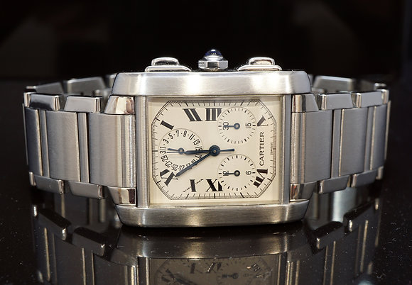 CARTIER 2002 Tank Francaise Chronoflex, W51001Q3, MINT, Box & Papers