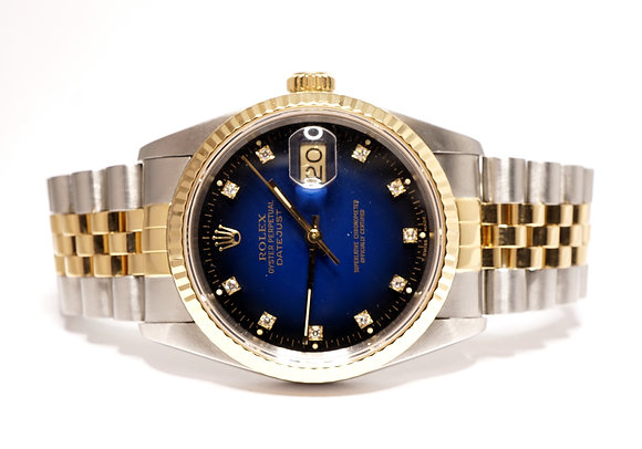 ROLEX 1989 Datejust 36, 16233, Blue Diamond Dot Vignette Dial, Boxed