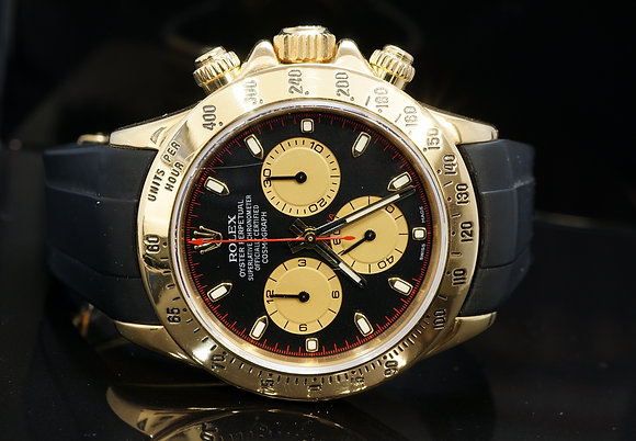 ROLEX 2005 Daytona, 18ct Yellow Gold, Rubber B, 116528, Serviced 02/18