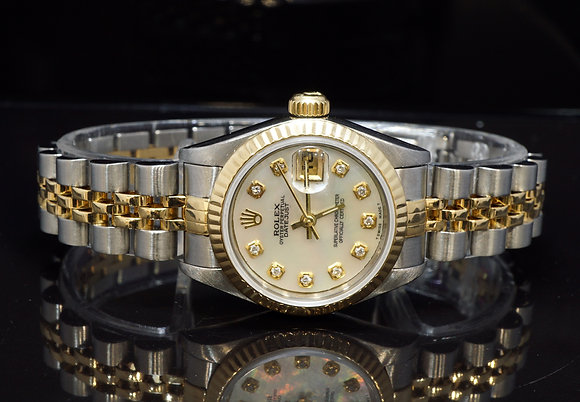 ROLEX 1995 26mm Datejust, Diamond Dial, 69173, Steel & Gold, Box & Papers