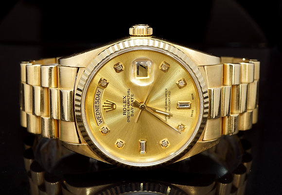 ROLEX 1988 Day-Date 36, Diamond Dot Dial, 18038, Boxed