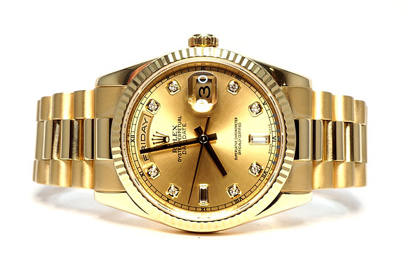 ROLEX 2008 Day-Date 36, 118238, 18ct Yellow Gold, Diamond Dot Dial, Box & Papers