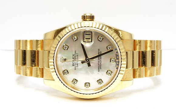 ROLEX 2013 Datejust 31,18ctYellow Gold, Mother of Pearl Diamond Dot, Box & Paper