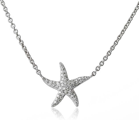 18ct White Gold Diamond Set Star Fish Pendant & Ch