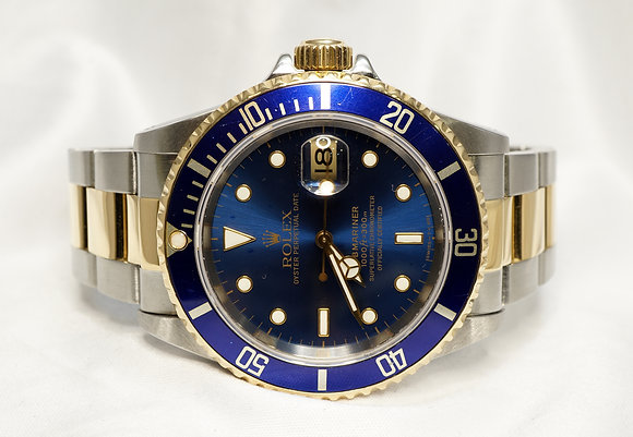 ROLEX 1995 Submariner Steel & Gold, 16613, Blue Dial, Boxed