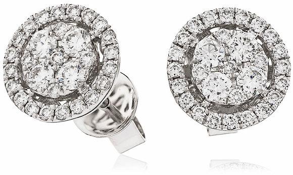 18ct White Gold Diamond Halo Studs