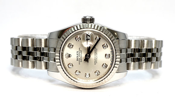 ROLEX 2008 Datejust 26, 179174, Silver Diamond Dot Dial, Box & Papers