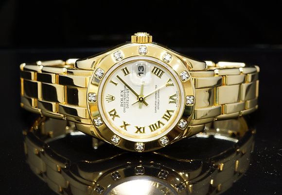 ROLEX 2001 29mm Pearlmaster, 18ct Gold, 69318, Box & Papers