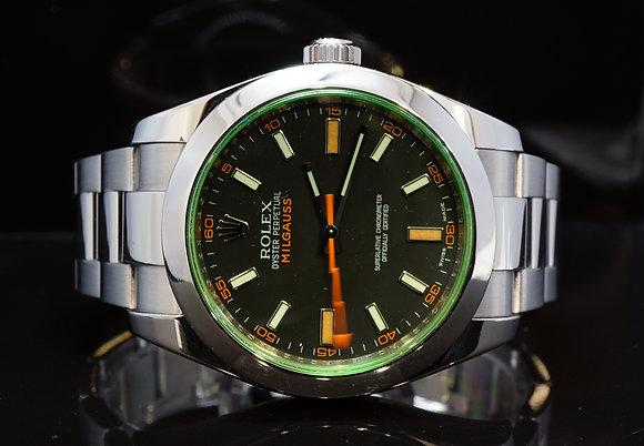 ROLEX 2009 Milgauss, Green Glass, 116400GV, MINT, Box & Papers