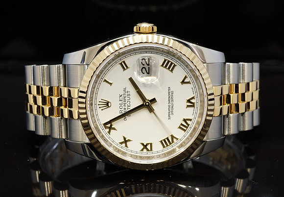 ROLEX 2010 Datejust 36, Steel & Gold, 116233, Box & Papers