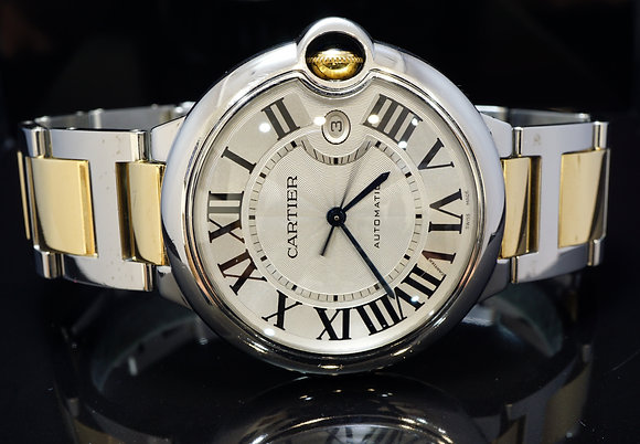 CARTIER 2008 42mm Ballon Bleu, Steel & Gold, Auto, W69009Z3, MINT, Box & Papers