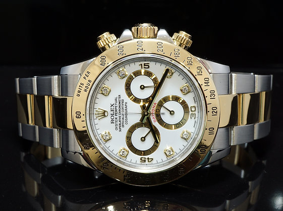 ROLEX 2005 Daytona, Steel & Gold, Diamond Dot, 116523, Box & Papers