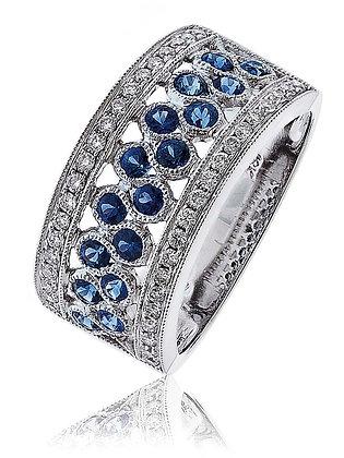 18ct White Gold Diamond & Sapphire Wide dress Ring