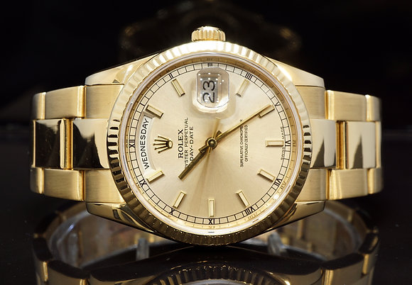 ROLEX 2001 Day-Date 36, Silver Dial, 118238, Boxed