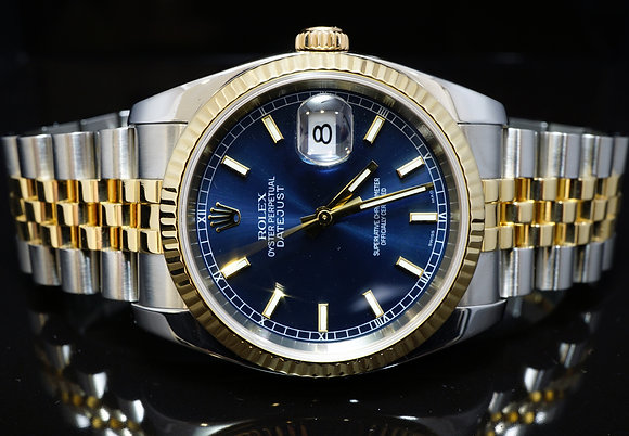 ROLEX 2004 36mm Datejust, Steel %& Gold, 116233, MINT, Box & Papers