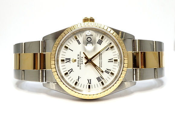 ROLEX 1995 Date 34 Steel & Gold, 15223, MINT, Box & Papers
