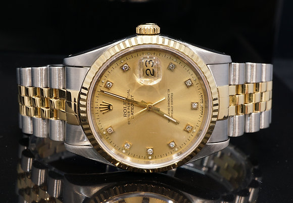 ROLEX 1993 Datejust 36, Steel & Gold, Diamond Dial, 16233, Box & Papers