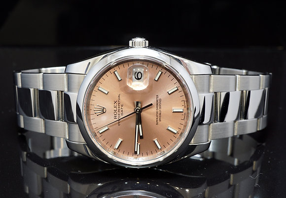 ROLEX 2009 Date 34, Copper Pink Dial, 115200, Box & Papers