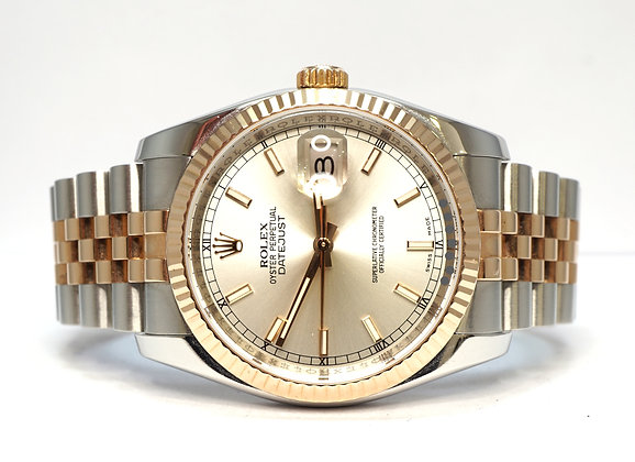 ROLEX 2007 Datejust 36, 116231, Steel & Rose, Box & Papers