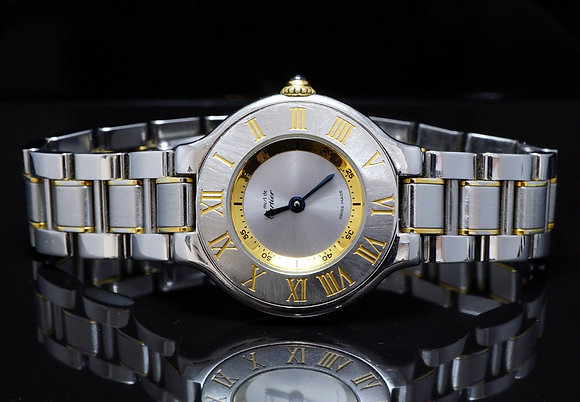 CARTIER 28mm 21 Steel & Gold Plate, 1340, Boxed