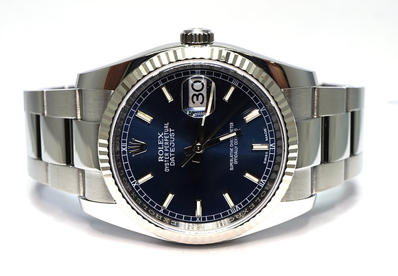 ROLEX 2018 Datejust 36, 116234, Blue Baton, Box & Papers