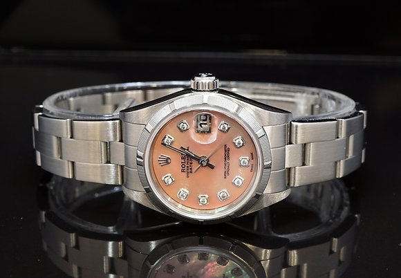 ROLEX 2002 Datejust 26, Pink Mother of Pearl Diamond Dot, Box & Papers