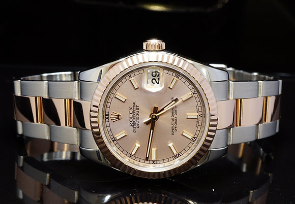 ROLEX 2007 31mm Datejust, Steel & Rose Gold, MINT, 178271, Box & Papers