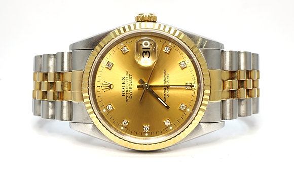 ROLEX 1994 Datejust 36, 16233, Steel & Gold, Diamond Dot Dial, Box & Papers