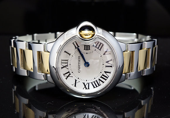 CARTIER 2013 28mm Ballon Bleu, Steel & Gold, W2BB0010, MINT, Box & Papers