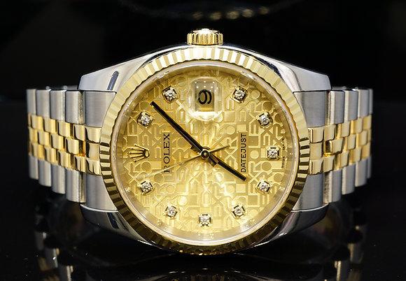 ROLEX 2005 36mm Datejust, Steel & Gold, Jubilee Diamond Dial, 16233, MINT