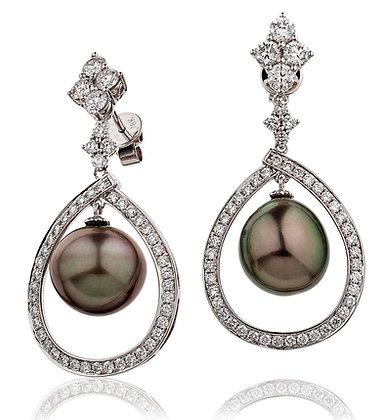 18ct White Gold Diamond & Tahitian Pearl Drops