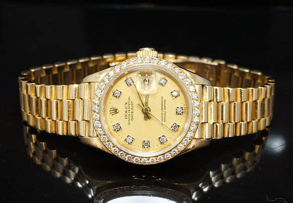 ROLEX 1986 26mm Datejust, 18ct Yellow Gold, Diamond Dial & Bezel, 69138, Boxed