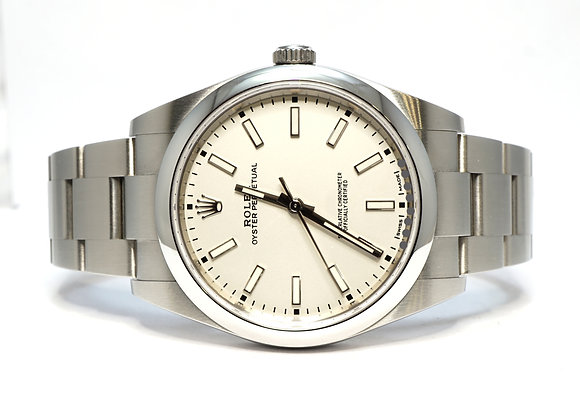 ROLEX 2019 Oyster Perpetual 39, 114300, White Dial, Box & Papers