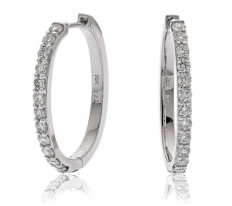 18ct White Gold Diamond Hoops, 1.00ct