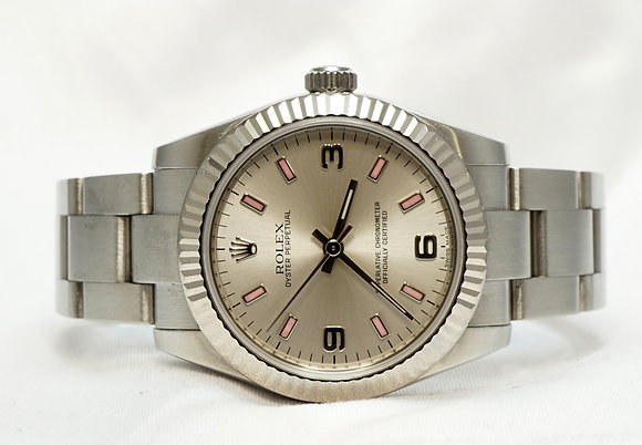 ROLEX Oyster Perpetual 31, 177234, Silver Dial with Pink Batons, Boxed